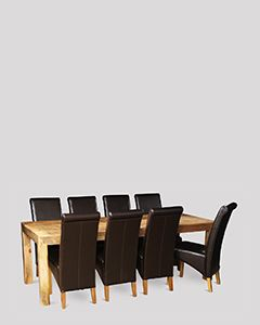 Dakota Light 220cm Dining Table & 8 Leather Rollback Chairs