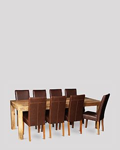 Dakota Light 220cm Dining Table & 8 Barcelona Chairs