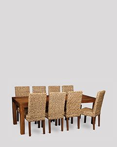 Dakota 220cm Dining Table & 8 Rattan Chairs