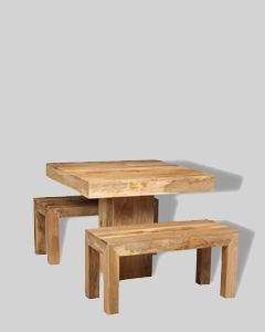Light Dakota 90cm Cube Dining Table & 2 Small Benches