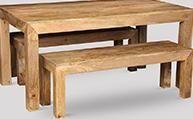 Light Dakota 160cm Dining Table & 2 Medium Benches