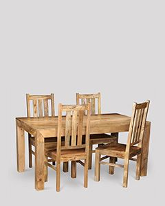 Dakota Light 160cm Dining Table & 4 Dakota Chairs