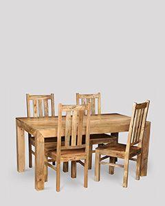 Dakota Light 160cm Dining Table & 4 Dakota Chairs