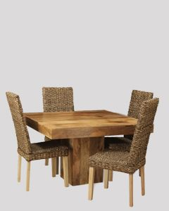 Light Dakota 120cm Cube Dining Table & 4 Rattan Chairs