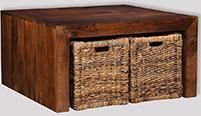Dakota Coffee Table with Baskets