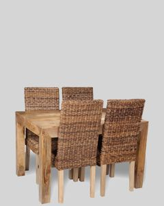 Light Dakota 120cm Dining Table & 4 Rattan Chairs