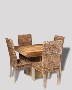 Light Dakota 90cm Cube Dining Table & 4 Havana Chairs