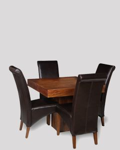 Small Dakota Cube Dining Table & 4 Leather Rollback Dining Chair