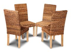 Set of 4 Light Leg Havana Rattan Dining Chairs
