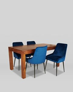 160cm Dakota Dining Table and 4 Henley Velvet Chairs