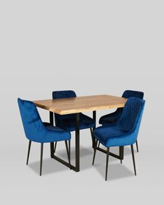 Industrial Dining Table and 4 Velvet Henley Chairs