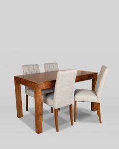 160cm Dakota Dining Table and 4 Buttoned Milan Dining Chairs