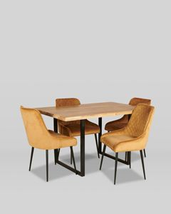 Industrial Dining Table and 4 Henley Velvet Chairs
