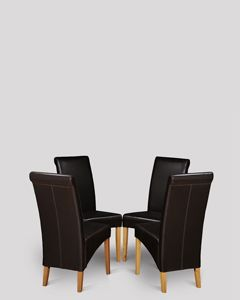 Set of 4 Brown Rollback Leather Dining Chairs