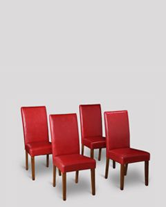 Set of 4 Red Leather Barcelona Dining Chairs