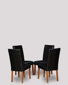 Set of 4 Black Barcelona Leather Dining Chairs