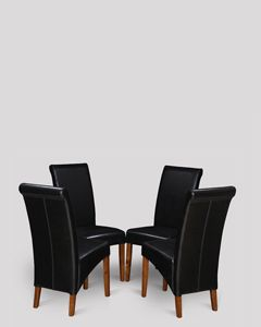 Set of 4 Black Leather Rollback Dining Chairs