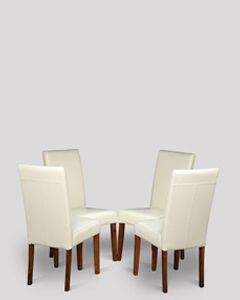 Set of 4 Cream Barcelona Leather Dining Chairs