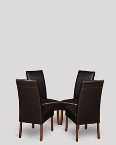 Set of 4 Brown Madrid Leather Dining Chairs