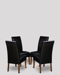 Set of 4 Black Madrid Leather Dining Chairs