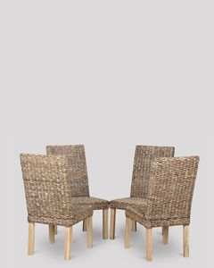 Set of 4 Antique Havana Rattan Dining Chairs
