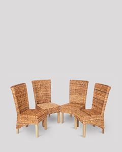 Set of 4 Rattan Rollback Dining Chairs