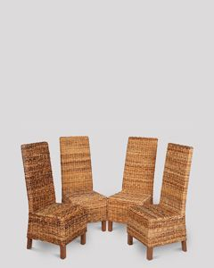 Set of 4 Croco Rattan Dining Chairs