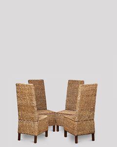 Set of 4 Croco Rattan Chairs