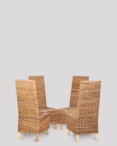 4 Croco Rattan Dining Chairs