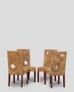4 Rattan Solo Dining Chairs
