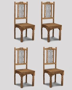 Set of 4 Jali Natural Dining Chairs