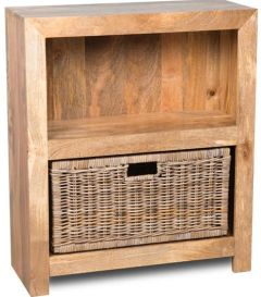 Light Mango Small Shelves and Rattan Basket
