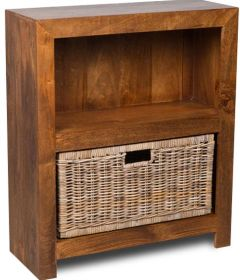 Dakota Small Shelves with Rattan Wicker Basket