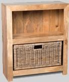 Light Dakota Small Shelves with Rattan Wicker Basket
