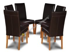 Set of 6 Brown Barcelona Leather Dining Chairs
