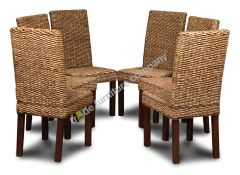Set of 6 Dark Leg Havana Rattan Chairs
