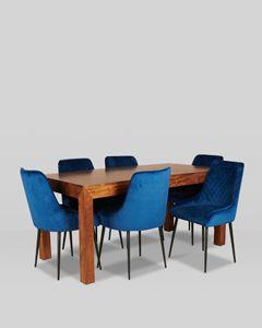 180cm Dakota Dining Table With 6 Henley Velvet Dining Chairs