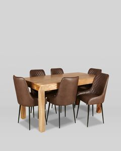180cm Light Dakota Dining Table With 6 Henley Faux Leather Dining Chairs