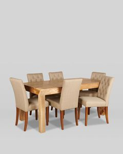 180cm Dakota Dining Table with 6 Buttoned Milan Dining Chairs