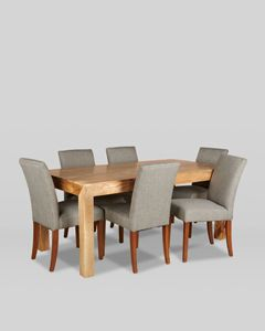 180cm Dakota Dining Table With 6 Milan Fabric Dining Chairs