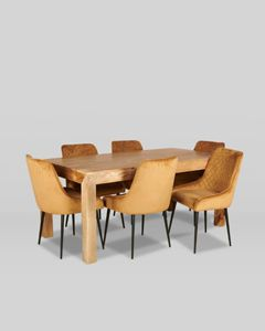 180cm Dining Table and 6 Velvet Dining Chairs