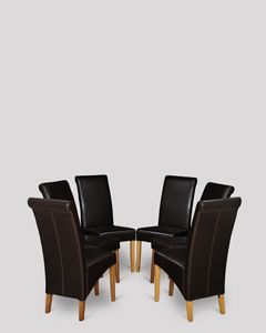 Set of 6 Brown Leather Rollback Dining Chairs