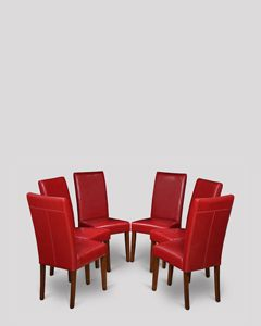 Set of 6 Red Barcelona Leather Dining Chairs