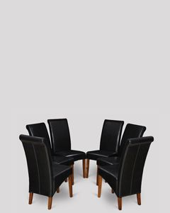 Set of 6 Black Rollback Leather Dining Chairs