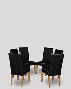 Set of 6 Black Barcelona Leather Dining Chairs