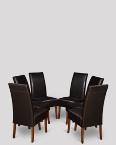 Set of 6 Brown Madrid Leather Dining Chairs