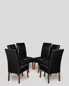 Set of 6 Black Madrid Leather Dining Chairs