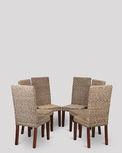 Rattan Antique Dining Chairs x 6