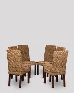Set of 6 Dark Leg Havana Rattan Chairs