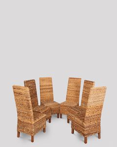 Set of 6 Croco Rattan Dining Chairs